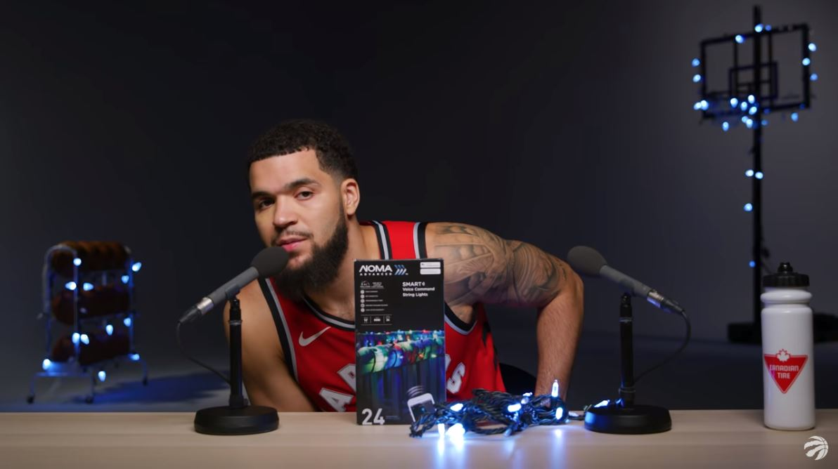 pitches in lights voice VanVleet activated  Christmas Fred